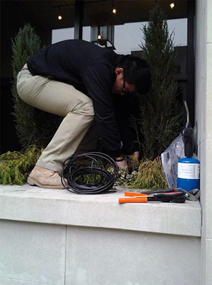 one of our pros is installing a new drip irrigation